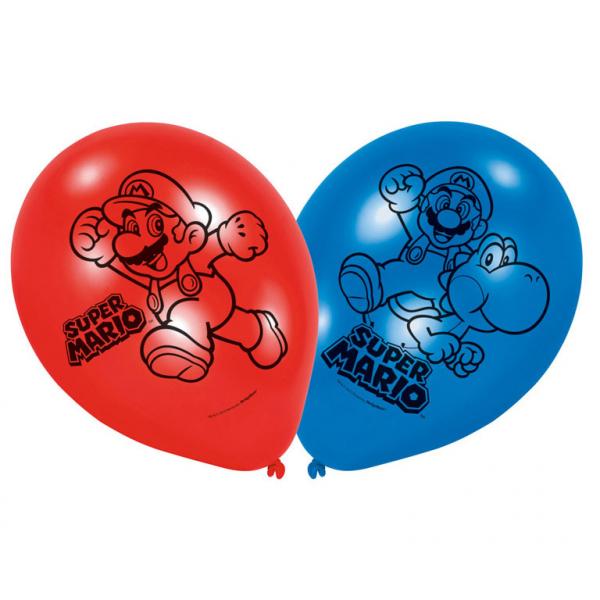 "Super Mario - Latexballons, 6Stk, 22,8cm/9"""