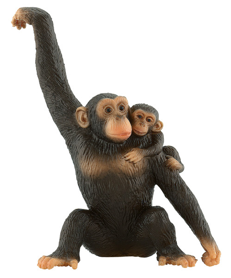 Wildtiere - Schimpansin mit Baby - Spielfigur