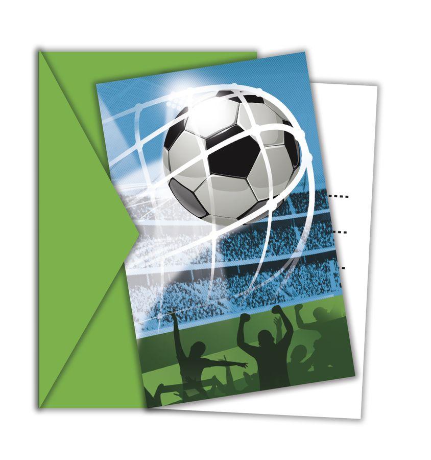 FOOTBALL FANS - 6 Einladungskarten mit Umschlag