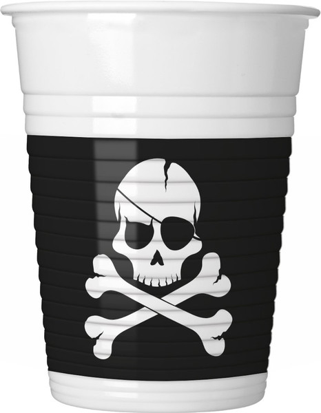 Pirates - Black Skull - 8 Plastikbecher 200ml
