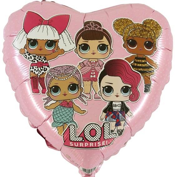 Herzförmiger Folienballon L.O.L Surprise, pink