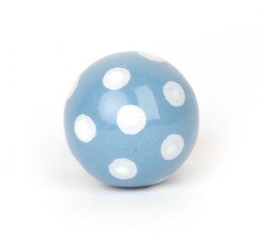 Möbelknopf blau als Ball mit weißen Punkten