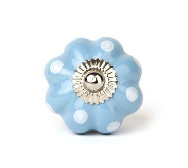 Möbelknopf Lilly hellblau/ weiss