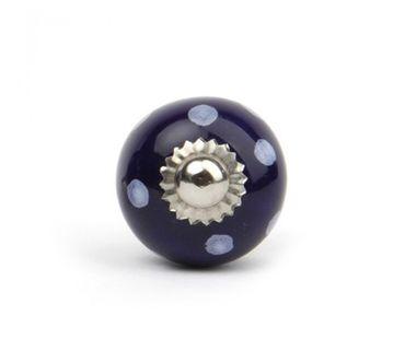 Möbelknopf klein Punkte dunkelblau/ weiß