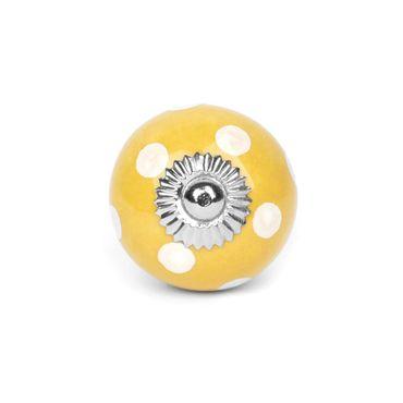 Möbelknopf Punkte groß gelb/weiss
