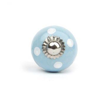 Möbelknopf klein Punkte hellblau/ weiß