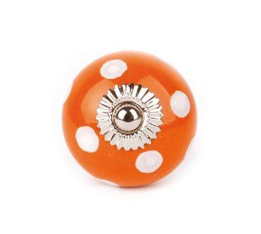 Möbelknopf groß Punkte orange/ weiß