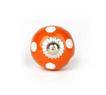 Möbelknopf klein Punkte orange/ weiß