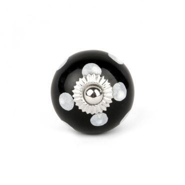 Möbelknopf schwarz klein mit weißen Punkten