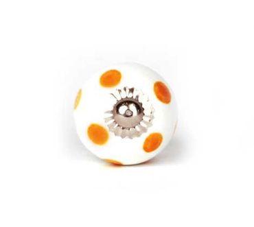 Möbelknopf klein Punkte weiß/ orange