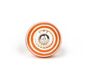 Möbelknopf klein Streifen orange/ weiß