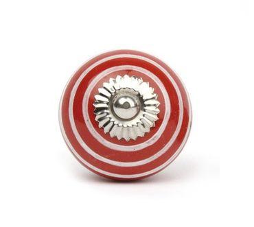 Möbelknopf groß Streifen rot/ weiß