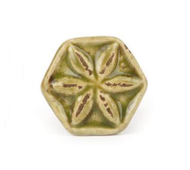 Möbelknopf Vintage Blüte grün