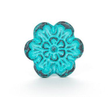 Möbelknopf Eisen Blüte türkis – Bild 1
