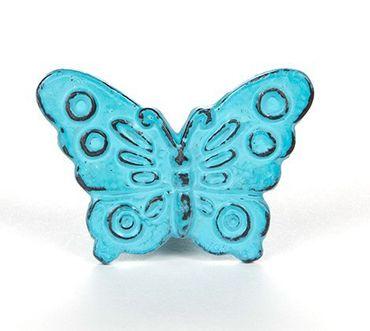 Möbelknopf Vintage Schmetterling blau