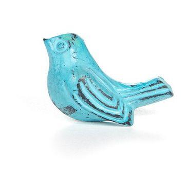 Möbelknopf Eisen Vögelchen blau – Bild 1