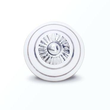Möbelknopf weiß mit silbernen Streifen groß – Bild 1