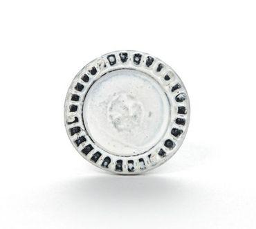 Möbelknopf Eisen rund Ornament weiß – Bild 1