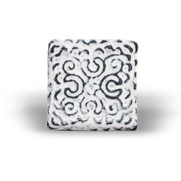 Möbelknopf Eisen orientalisch weiß (quadratisch) – Bild 1