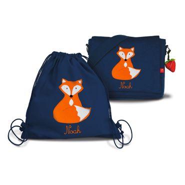 Set: Kindergartentasche & Turnbeutel mit Namen Fuchs – Bild 1