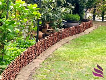 Floranica® Wooden Border Fencing: 1 pc - 20 cm high - Border in 25 Sizes - Impregnated Willow Edging Fence with Beech Stakes – image 2