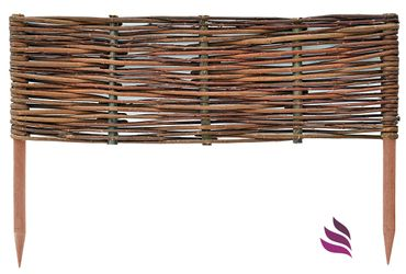 Floranica® Wooden Border Fencing: 1 pc - 20 cm high - Border in 25 Sizes - Impregnated Willow Edging Fence with Beech Stakes – Bild 5