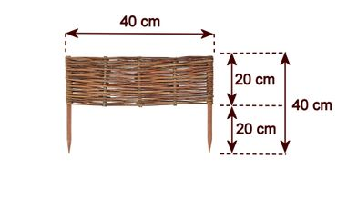 Floranica® Wooden Border Fencing: 1 pc - 20 cm high - Border in 25 Sizes - Impregnated Willow Edging Fence with Beech Stakes – Bild 10