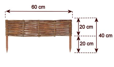 Floranica® Wooden Border Fencing: 1 pc - 20 cm high - Border in 25 Sizes - Impregnated Willow Edging Fence with Beech Stakes – image 7