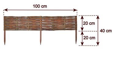 Floranica® Wooden Border Fencing: 1 pc - 20 cm high - Border in 25 Sizes - Impregnated Willow Edging Fence with Beech Stakes – image 8