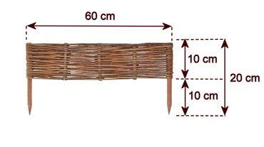 Floranica® Beeteinfassung: 1 Element 10 cm hoch - Steckzaun in 25 Größen, Rasenkante, Weidenzaun - imprägniert mit Buchepflöcke – Bild 9