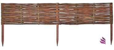 Floranica® Beeteinfassung: 1 Element 30 cm hoch - Steckzaun in 25 Größen, Rasenkante, Weidenzaun - imprägniert mit Buchepflöcke – Bild 1