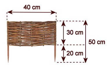 Floranica® Beeteinfassung: 1 Element 30 cm hoch - Steckzaun in 25 Größen, Rasenkante, Weidenzaun - imprägniert mit Buchepflöcke – Bild 7