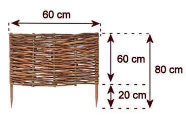 Floranica® Beeteinfassung: 1 Element 60 cm hoch - Steckzaun in 25 Größen, Rasenkante, Weidenzaun - imprägniert mit Buchepflöcke – Bild 7