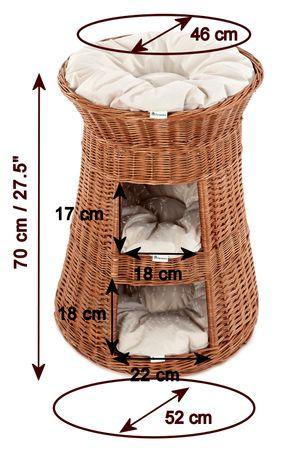 Floranica® 3 Etagen Hoher Katzenturm Katzenkorb, Katzenbett, Katzenliege, Katzenbaum aus Weide, mit drei Kissen oder ohne (wählbar) – Bild 10