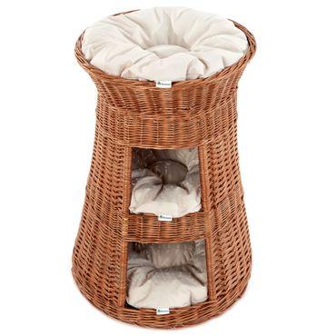 Floranica® 3 Etagen Hoher Katzenturm Katzenkorb, Katzenbett, Katzenliege, Katzenbaum aus Weide, mit drei Kissen oder ohne (wählbar) – Bild 3