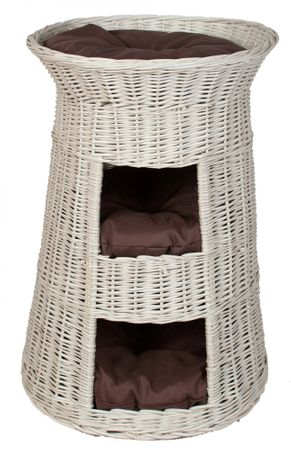 Floranica® Superior Three Tiers Wicker Cat Tower Bed Basket House + cushions, organic willow product, made in the EU – image 5