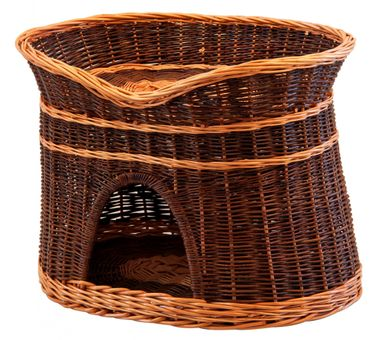 Floranica®- 2 Sizes (L, XL) Wicker Cat Tower Two Tier Bed Basket House + cushions, organic willow product, made in the EU – image 3