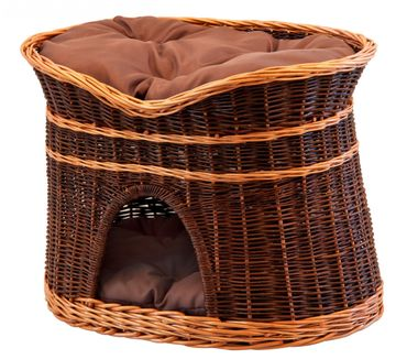 Floranica®- 2 Sizes (L, XL) Wicker Cat Tower Two Tier Bed Basket House + cushions, organic willow product, made in the EU – image 2