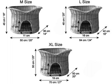 Floranica®- 2 Sizes (L, XL) Wicker Cat Tower Two Tier Bed Basket House + cushions, organic willow product, made in the EU – image 6