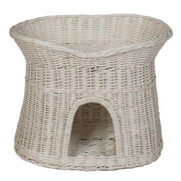 Floranica® -  L, XL Weißer Katzenkorb Katzenbett mit / ohne Kissen (wählbar) – Bild 3