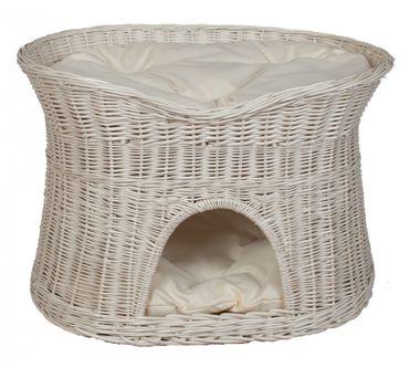 Floranica® -  L, XL Weißer Katzenkorb Katzenbett mit / ohne Kissen (wählbar) – Bild 1
