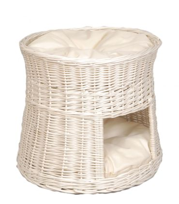 Floranica® - White Wicker Cat Tower Two Tier Bed Basket House + cushions, organic willow product, made in the EU – image 1