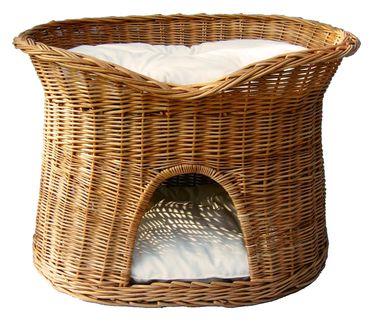 Floranica® - L oder XL Katzenkorb / Katzenbett / Katzenliege / Katzenbaum / Kuschelhöhle aus Weide mit oder ohne Kissen (wählbar) – Bild 1