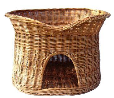 Floranica® - L oder XL Katzenkorb / Katzenbett / Katzenliege / Katzenbaum / Kuschelhöhle aus Weide mit oder ohne Kissen (wählbar) – Bild 3