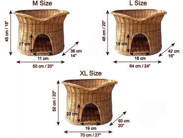 Floranica® - L oder XL Katzenkorb / Katzenbett / Katzenliege / Katzenbaum / Kuschelhöhle aus Weide mit oder ohne Kissen (wählbar) – Bild 5