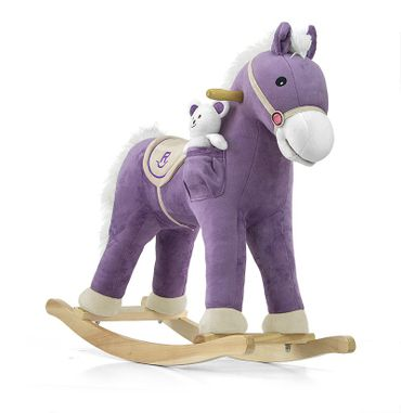 Soft Rocking Horse in rosa and violett Rocking animals Rocking toys with sound effects Rocking horse – image 2