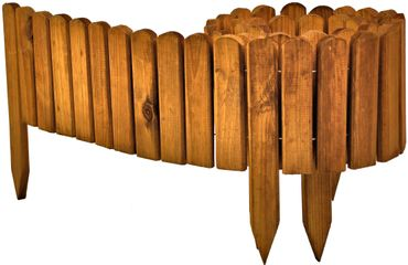 Floranica® Beetzaun 203x20 cm aus Holz als Steckzaun Rollboarder, Beeteinfassung, Beetumrandung, Rasenkante, Beetzaun oder Palisade - wetterfest imprägniert – Bild 1