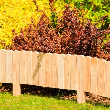 Floranica® Spiked Roll Boarder as plug-in fence 203 cm long, height 20 cm as wooden border for flower beds, border for lawn edges or palisades – natural color weatherproof impregnated – Bild 8