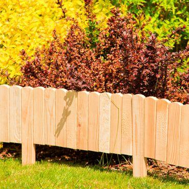 Floranica® Beetzaun 203x20 cm aus Holz als Steckzaun Rollboarder, Beeteinfassung, Beetumrandung, Rasenkante, Beetzaun oder Palisade - wetterfest imprägniert – Bild 8