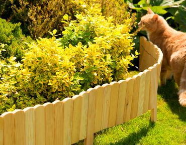 Floranica® Spiked Roll Boarder as plug-in fence 203 cm long, height 20 cm as wooden border for flower beds, border for lawn edges or palisades – natural color weatherproof impregnated – Bild 10